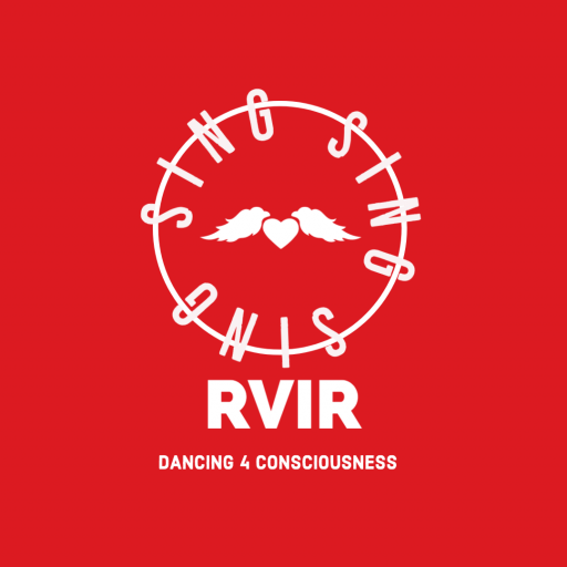 """A white text on red background logo which says """"sing sing sing"""" and RVIR"""
