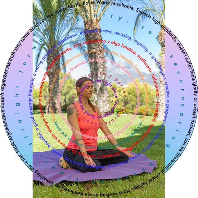 Rachel Rose meditating, with a concentric circle of words.